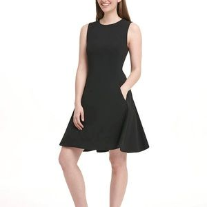 NWT DKNY Black Fit & Flair Dress w/Pockets size 4